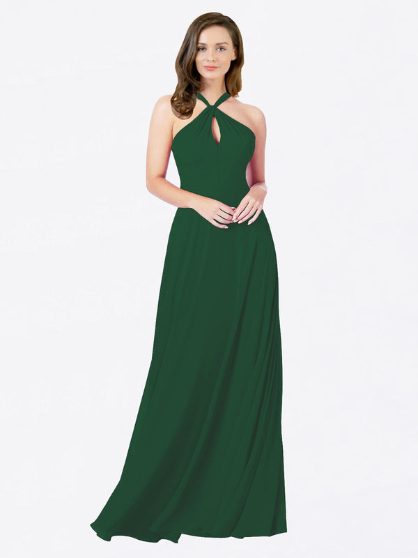 Mila Queen Chandler Bridesmaid Dress Dark Green - A-Line Halter Bridesmaid Gown Chandler in Dark Green