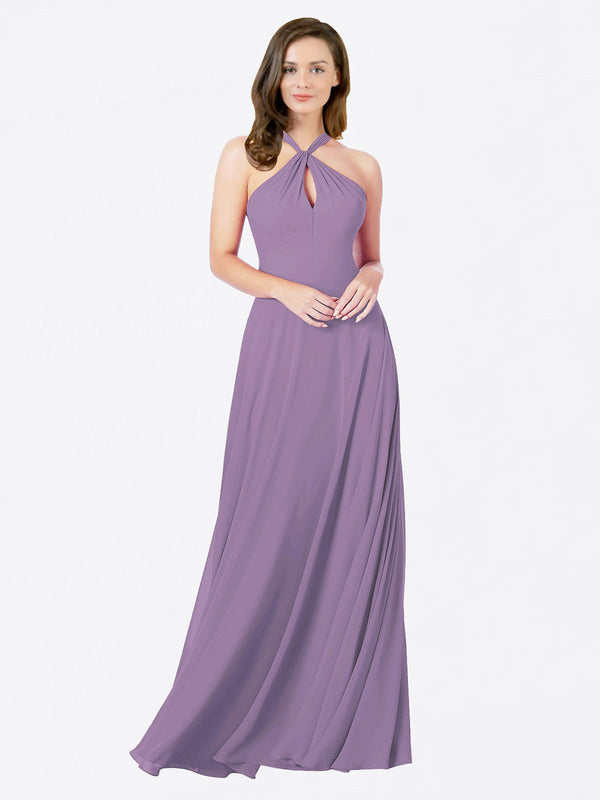Mila Queen Chandler Bridesmaid Dress Dark Lavender - A-Line Halter Bridesmaid Gown Chandler in Dark Lavender
