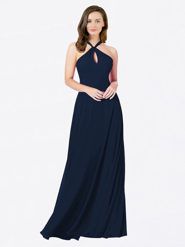 Mila Queen Chandler Bridesmaid Dress Dark Navy - A-Line Halter Bridesmaid Gown Chandler in Dark Navy