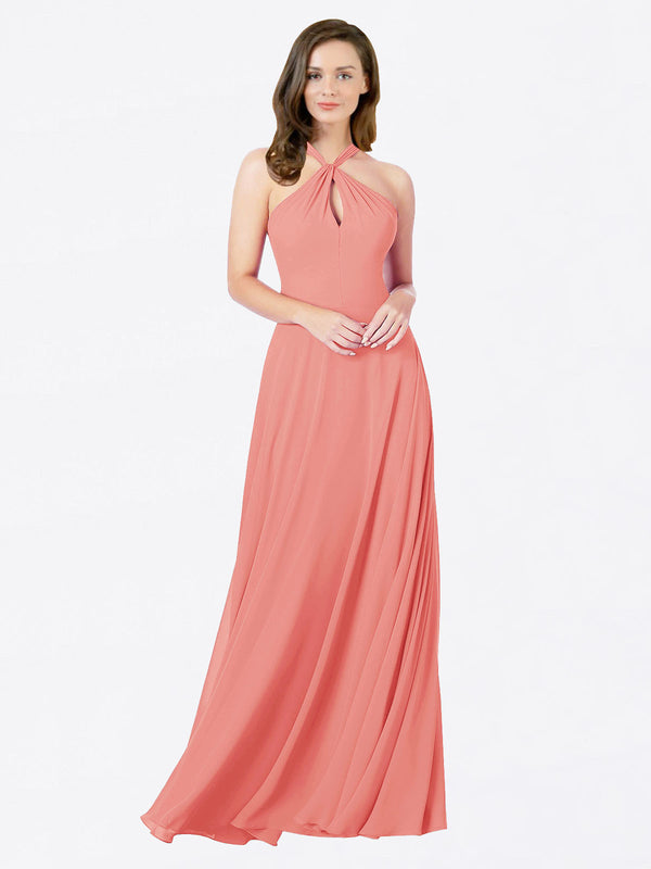 Mila Queen Chandler Bridesmaid Dress Desert Rose - A-Line Halter Bridesmaid Gown Chandler in Desert Rose