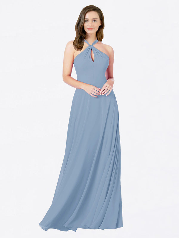 Mila Queen Chandler Bridesmaid Dress Dusty Blue - A-Line Halter Bridesmaid Gown Chandler in Dusty Blue