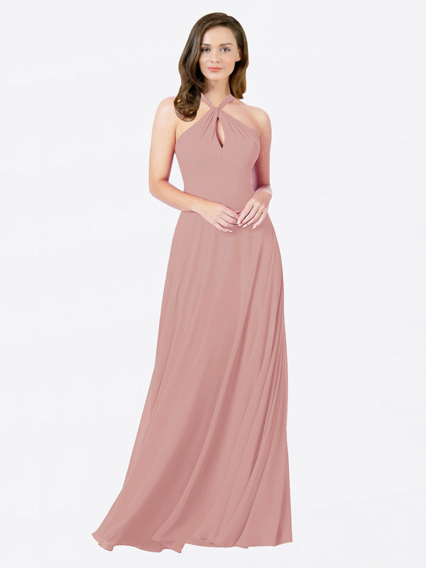 Mila Queen Chandler Bridesmaid Dress Dusty Pink - A-Line Halter Bridesmaid Gown Chandler in Dusty Pink