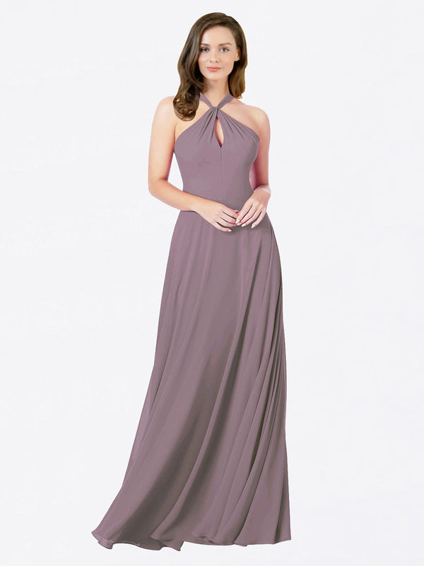 Mila Queen Chandler Bridesmaid Dress Dusty Rose - A-Line Halter Bridesmaid Gown Chandler in Dusty Rose