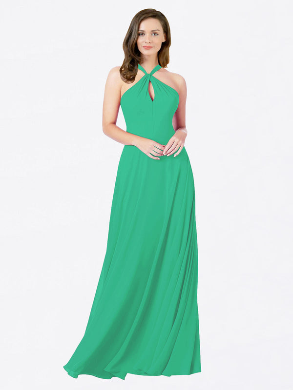 Mila Queen Chandler Bridesmaid Dress Emerald Green - A-Line Halter Bridesmaid Gown Chandler in Emerald Green