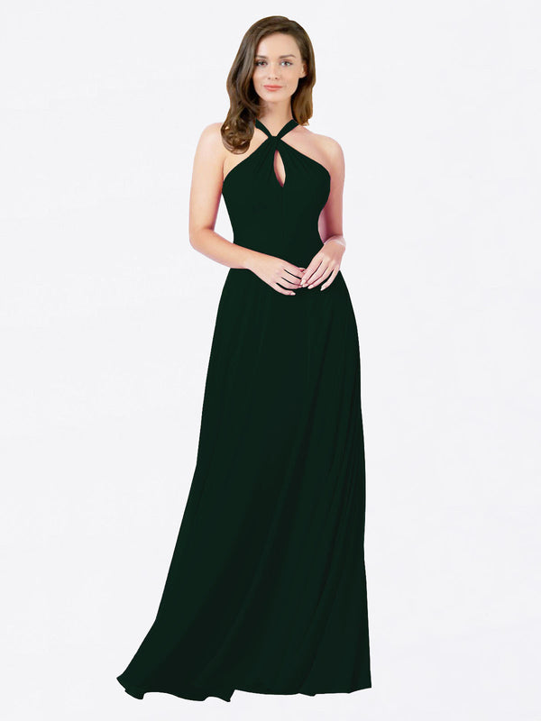 Mila Queen Chandler Bridesmaid Dress Ever Green - A-Line Halter Bridesmaid Gown Chandler in Ever Green