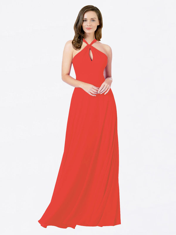 Mila Queen Chandler Bridesmaid Dress Firecracker - A-Line Halter Bridesmaid Gown Chandler in Firecracker