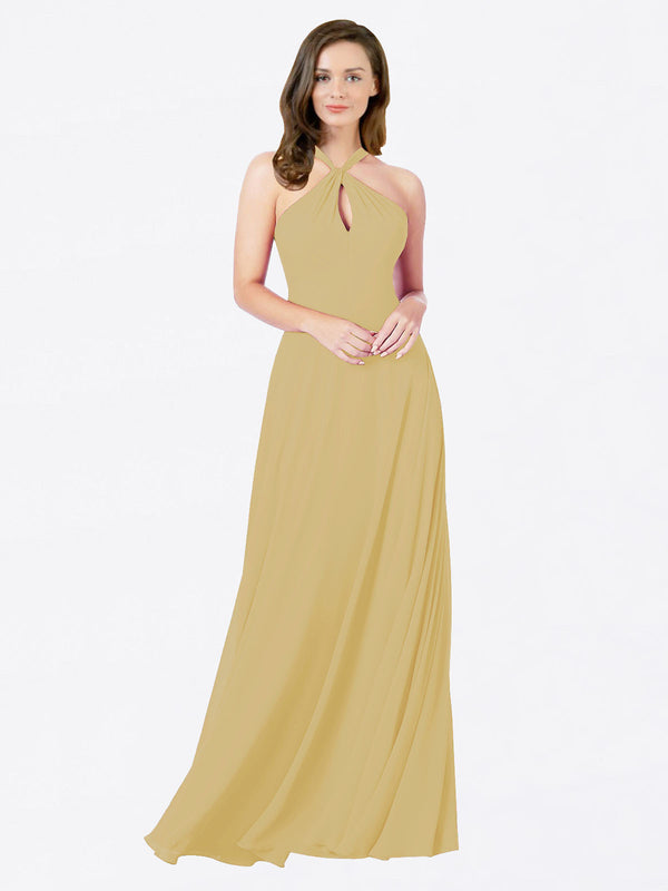 Mila Queen Chandler Bridesmaid Dress Gold - A-Line Halter Bridesmaid Gown Chandler in Gold