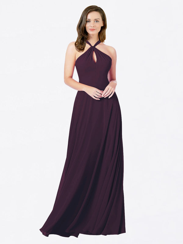 Mila Queen Chandler Bridesmaid Dress Grape - A-Line Halter Bridesmaid Gown Chandler in Grape