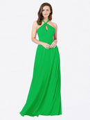 Mila Queen Chandler Bridesmaid Dress Green - A-Line Halter Bridesmaid Gown Chandler in Green