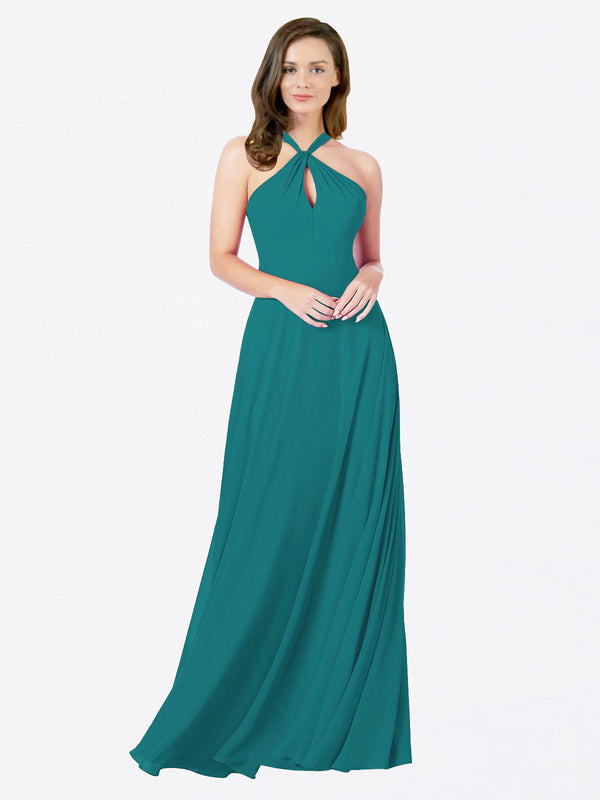Mila Queen Chandler Bridesmaid Dress Hunter - A-Line Halter Bridesmaid Gown Chandler in Hunter