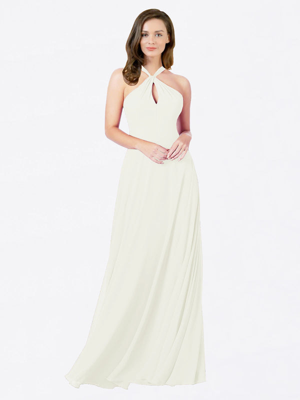 Mila Queen Chandler Bridesmaid Dress Ivory - A-Line Halter Bridesmaid Gown Chandler in Ivory