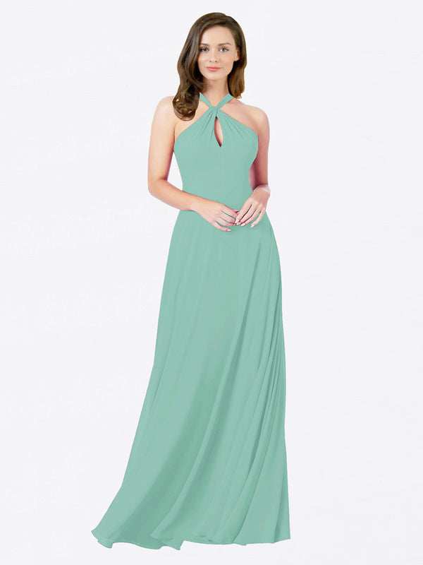 Mila Queen Chandler Bridesmaid Dress Jade - A-Line Halter Bridesmaid Gown Chandler in Jade