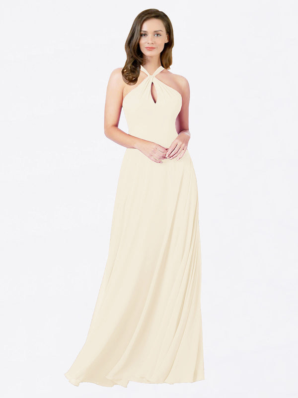 Mila Queen Chandler Bridesmaid Dress Light Champagne - A-Line Halter Bridesmaid Gown Chandler in Light Champagne