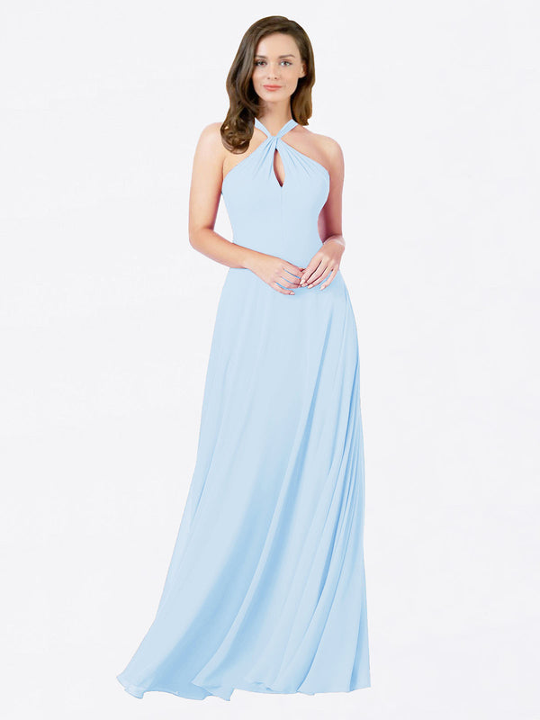 Mila Queen Chandler Bridesmaid Dress Light Sky Blue - A-Line Halter Bridesmaid Gown Chandler in Light Sky Blue