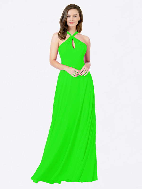 Mila Queen Chandler Bridesmaid Dress Lime Green - A-Line Halter Bridesmaid Gown Chandler in Lime Green