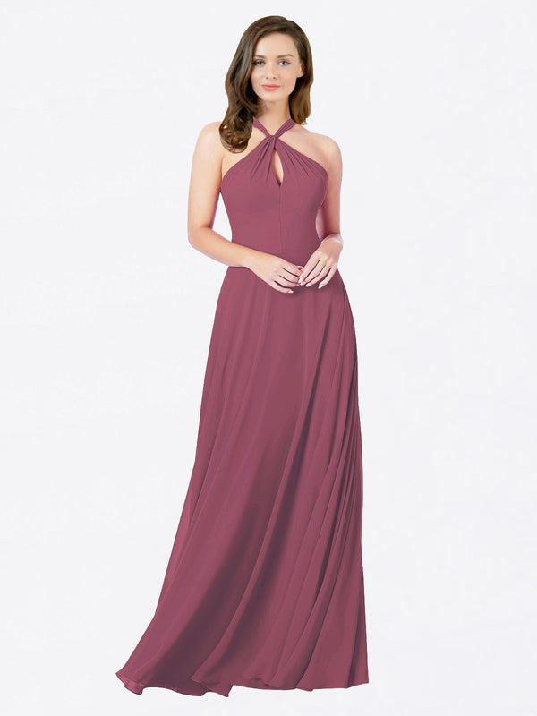 Mila Queen Chandler Bridesmaid Dress Mauve Taupe - A-Line Halter Bridesmaid Gown Chandler in Mauve Taupe