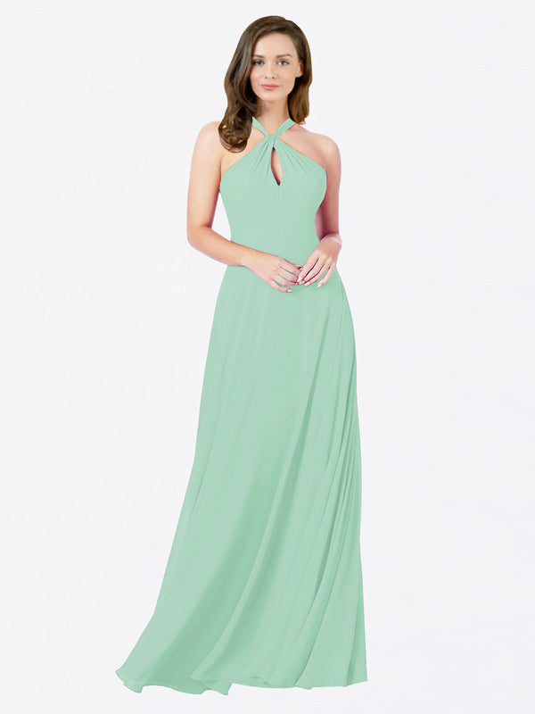 Mila Queen Chandler Bridesmaid Dress Mint Green - A-Line Halter Bridesmaid Gown Chandler in Mint Green