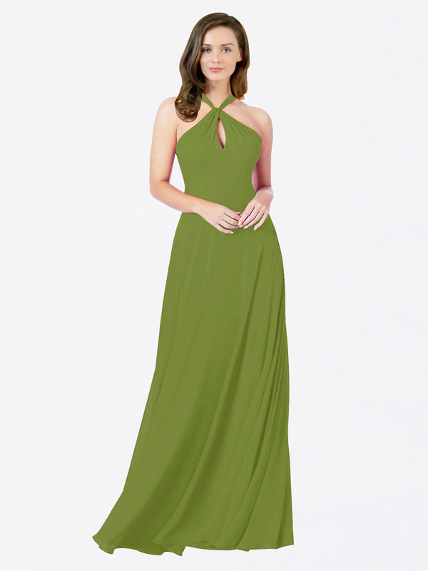 Mila Queen Chandler Bridesmaid Dress Olive Green - A-Line Halter Bridesmaid Gown Chandler in Olive Green