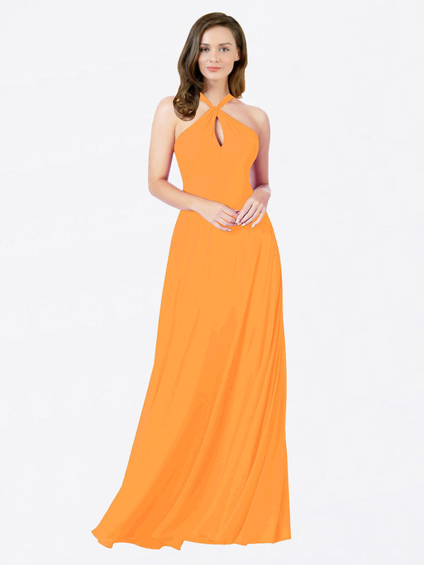 Mila Queen Chandler Bridesmaid Dress Orange - A-Line Halter Bridesmaid Gown Chandler in Orange