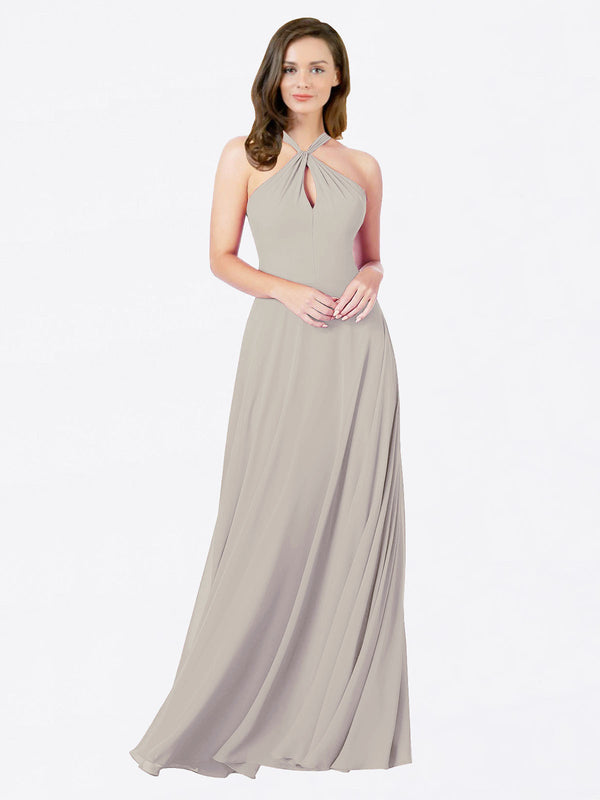 Mila Queen Chandler Bridesmaid Dress Oyster Silver - A-Line Halter Bridesmaid Gown Chandler in Oyster Silver