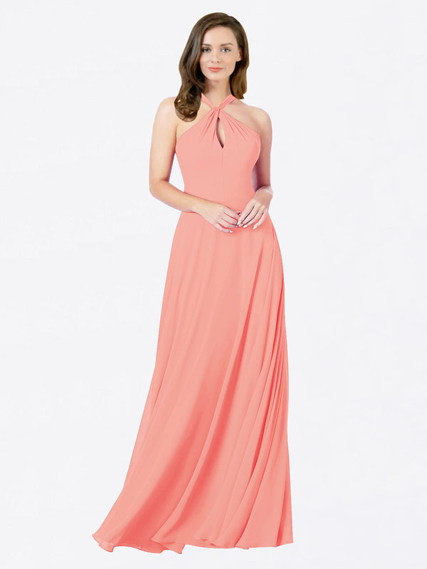 Mila Queen Chandler Bridesmaid Dress Peach - A-Line Halter Bridesmaid Gown Chandler in Peach