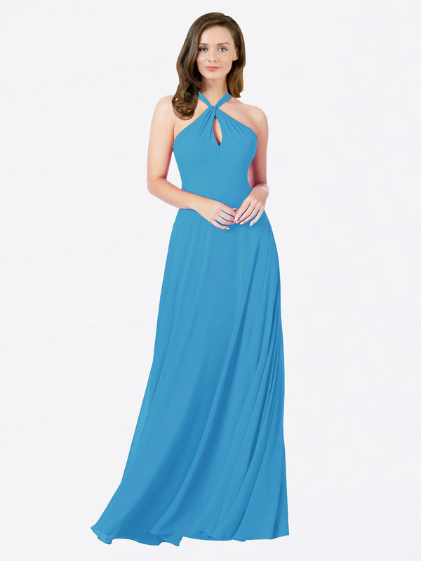 Mila Queen Chandler Bridesmaid Dress Peacock Blue - A-Line Halter Bridesmaid Gown Chandler in Peacock Blue