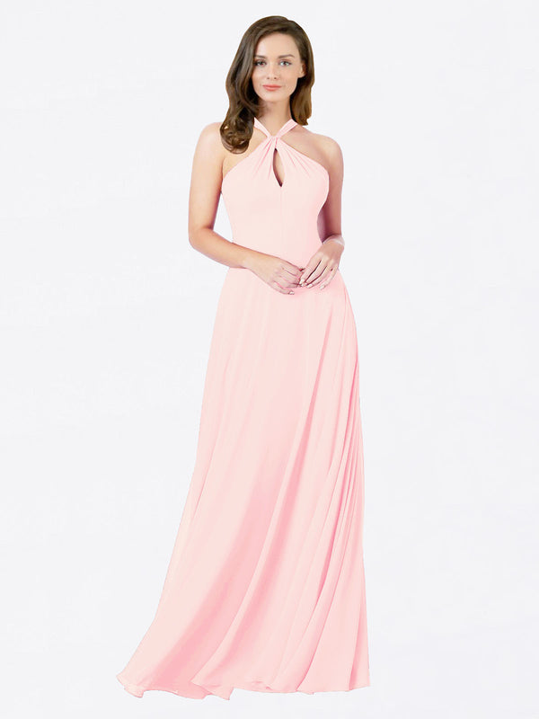 Mila Queen Chandler Bridesmaid Dress Pink - A-Line Halter Bridesmaid Gown Chandler in Pink