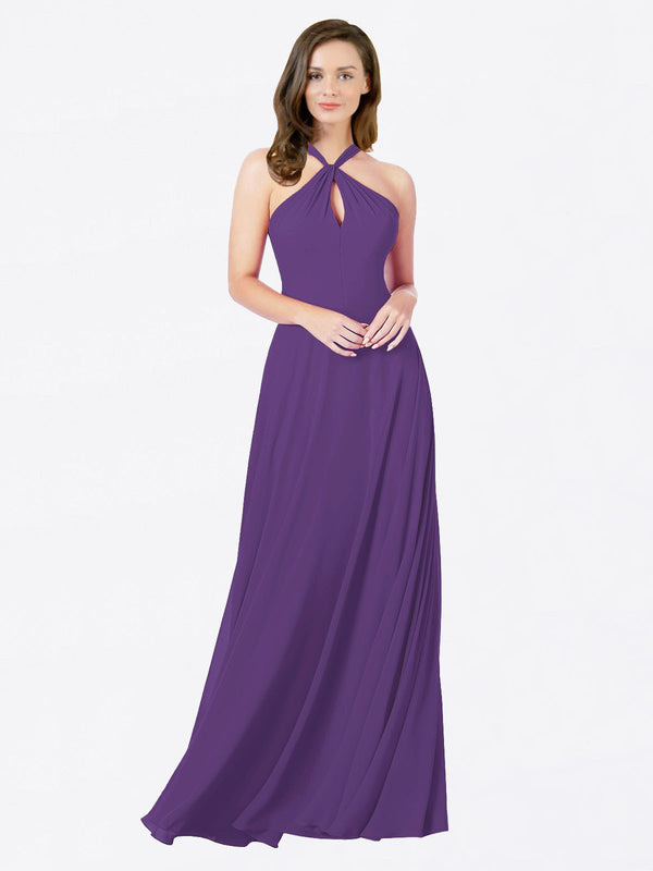 Mila Queen Chandler Bridesmaid Dress Plum Purple - A-Line Halter Bridesmaid Gown Chandler in Plum Purple