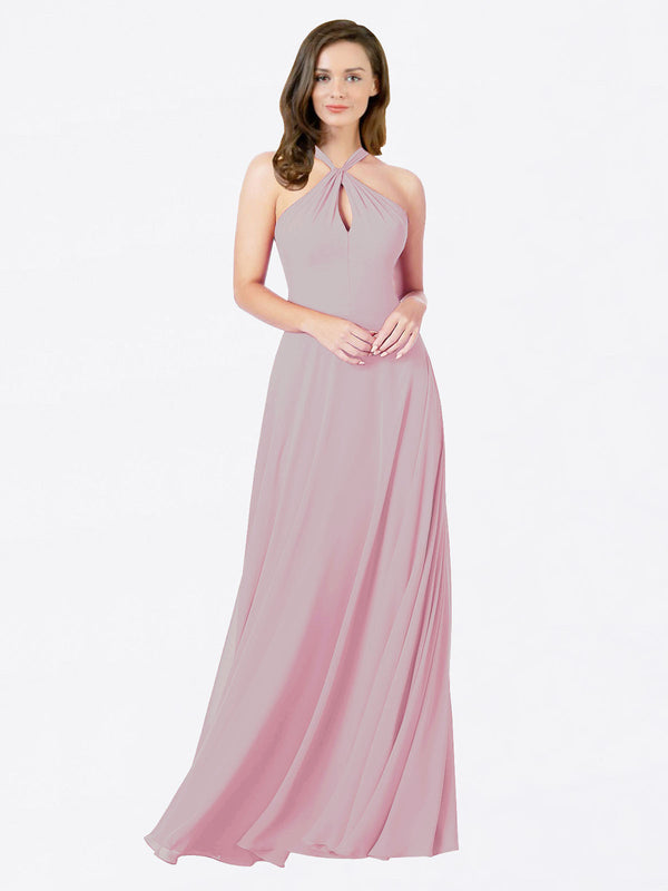 Mila Queen Chandler Bridesmaid Dress Primrose - A-Line Halter Bridesmaid Gown Chandler in Primrose