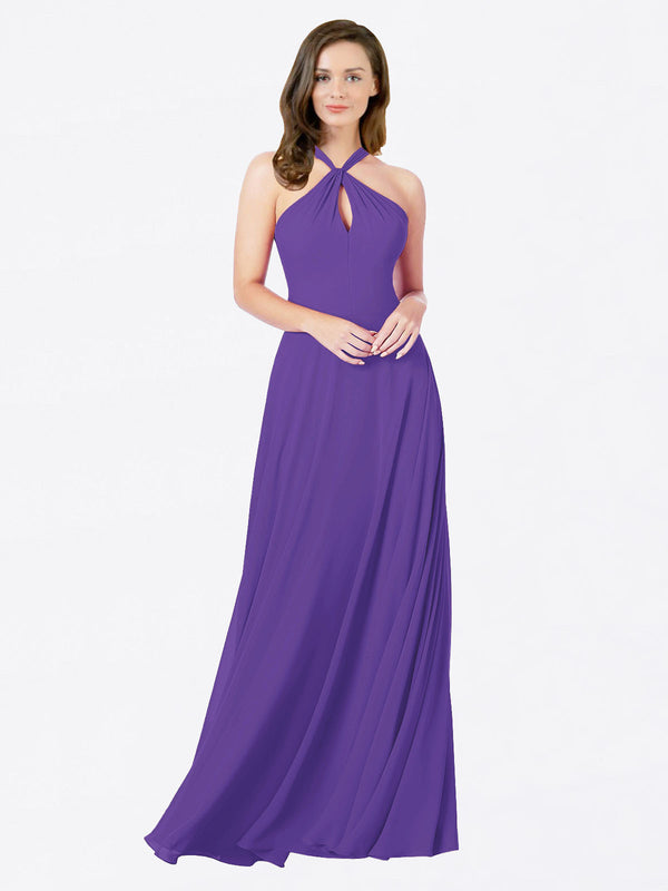 Mila Queen Chandler Bridesmaid Dress Purple - A-Line Halter Bridesmaid Gown Chandler in Purple