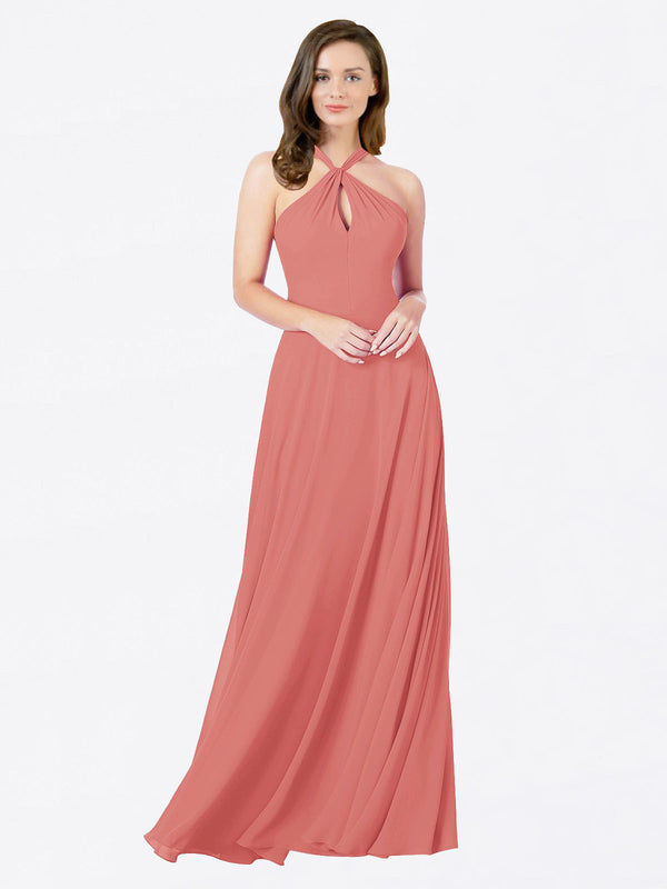 Mila Queen Chandler Bridesmaid Dress Rosewood - A-Line Halter Bridesmaid Gown Chandler in Rosewood