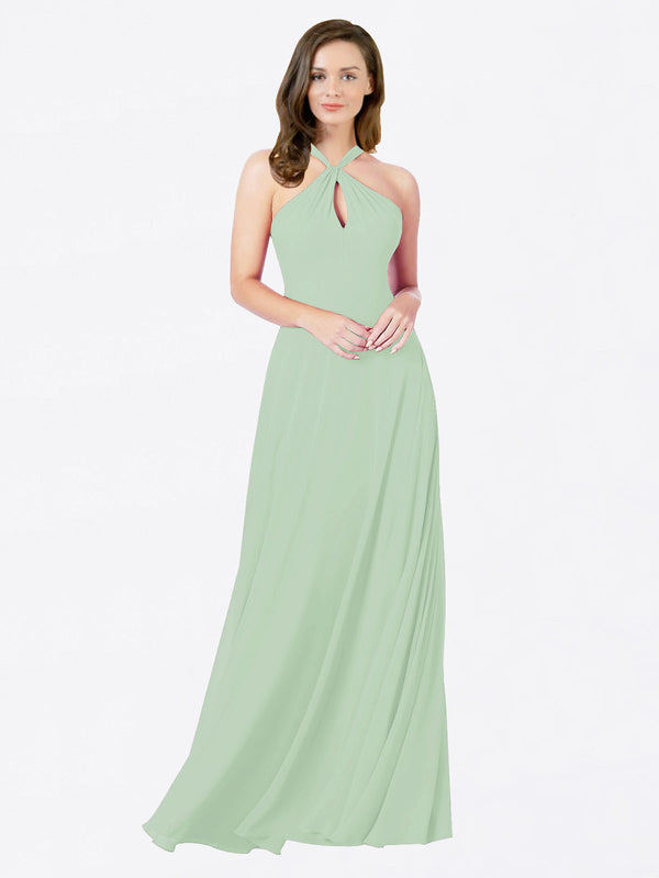 Mila Queen Chandler Bridesmaid Dress Sage - A-Line Halter Bridesmaid Gown Chandler in Sage