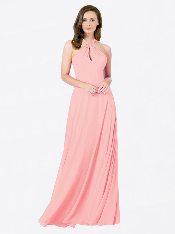 Mila Queen Chandler Bridesmaid Dress Salmon - A-Line Halter Bridesmaid Gown Chandler in Salmon