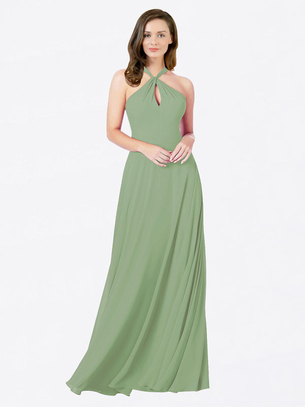 Mila Queen Chandler Bridesmaid Dress Seagrass - A-Line Halter Bridesmaid Gown Chandler in Seagrass