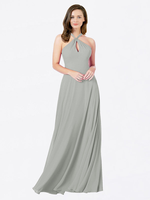 Mila Queen Chandler Bridesmaid Dress Silver - A-Line Halter Bridesmaid Gown Chandler in Silver