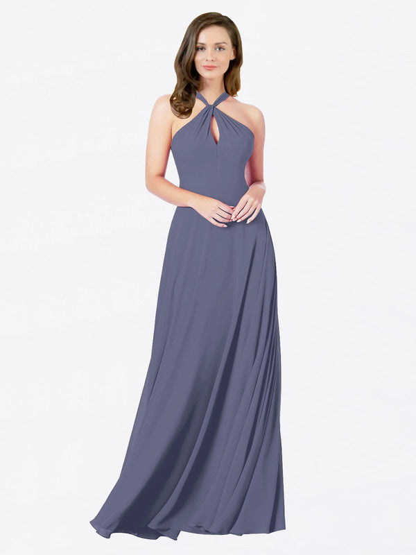 Mila Queen Chandler Bridesmaid Dress Silver Stone - A-Line Halter Bridesmaid Gown Chandler in Silver Stone