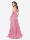 Mila Queen Chandler Bridesmaid Dress in Skin Pink - A-Line Halter Long Bridesmaid Gown Chandler in Skin Pink