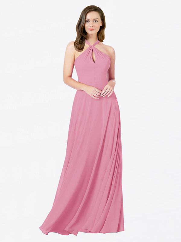 Mila Queen Chandler Bridesmaid Dress Skin Pink - A-Line Halter Long Bridesmaid Gown Chandler in Skin Pink