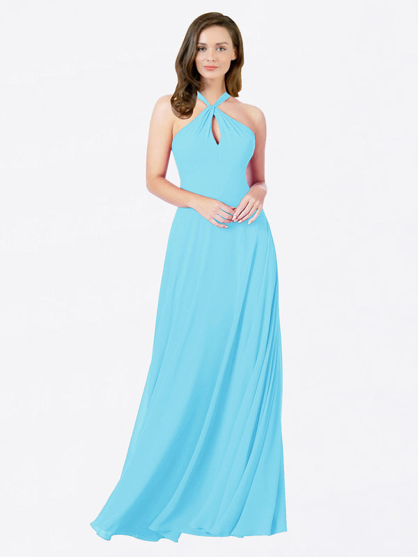 Mila Queen Chandler Bridesmaid Dress Sky Blue - A-Line Halter Bridesmaid Gown Chandler in Sky Blue