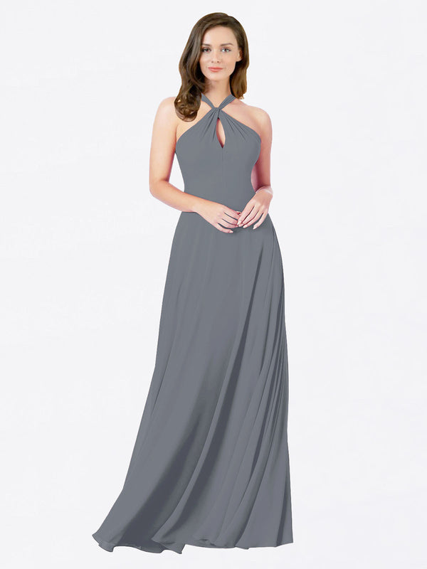 Mila Queen Chandler Bridesmaid Dress Slate Grey - A-Line Halter Bridesmaid Gown Chandler in Slate Grey