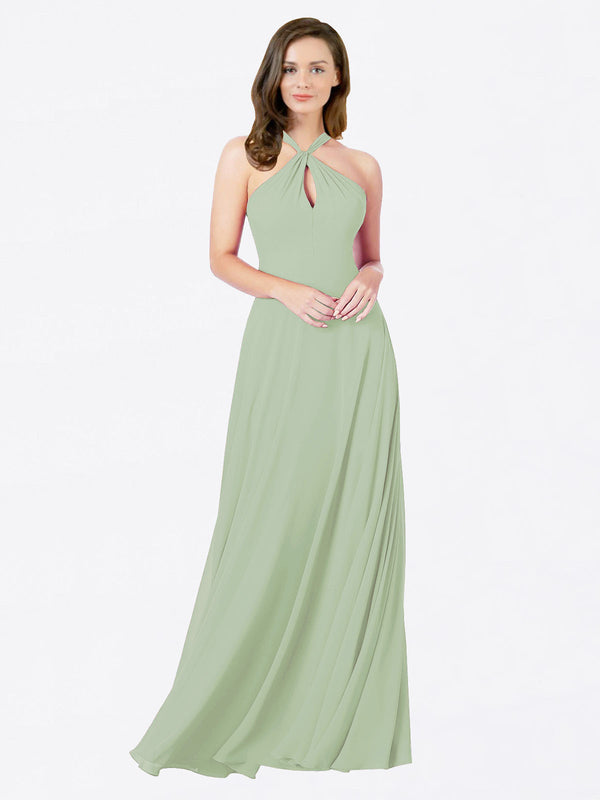Mila Queen Chandler Bridesmaid Dress Smoke Green - A-Line Halter Bridesmaid Gown Chandler in Smoke Green