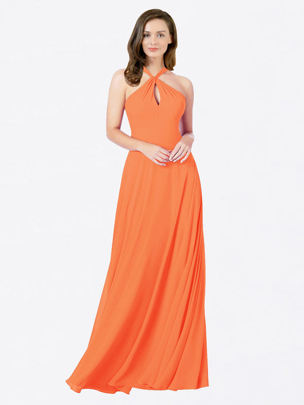 Mila Queen Chandler Bridesmaid Dress Tangerine Tango - A-Line Halter Bridesmaid Gown Chandler in Tangerine Tango
