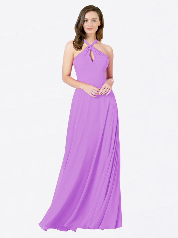 Mila Queen Chandler Bridesmaid Dress Violet - A-Line Halter Bridesmaid Gown Chandler in Violet