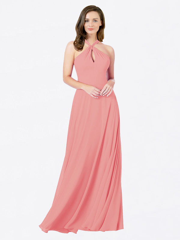 Mila Queen Chandler Bridesmaid Dress Watermelon - A-Line Halter Bridesmaid Gown Chandler in Watermelon