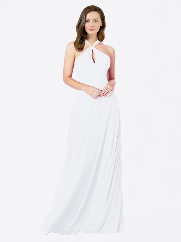 Mila Queen Chandler Bridesmaid Dress White - A-Line Halter Bridesmaid Gown Chandler in White
