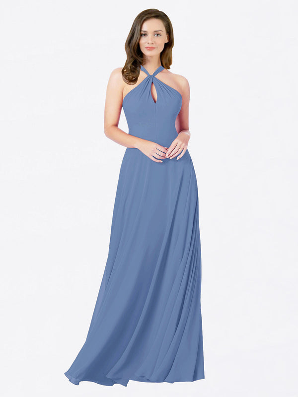 Mila Queen Chandler Bridesmaid Dress Windsor Blue - A-Line Halter Bridesmaid Gown Chandler in Windsor Blue
