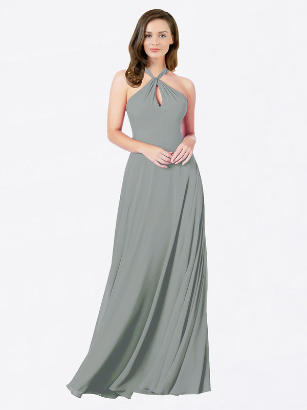 Mila Queen Chandler Bridesmaid Dress Wisteria - A-Line Halter Bridesmaid Gown Chandler in Wisteria