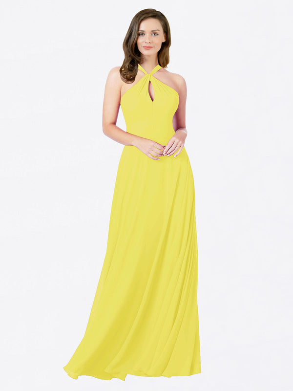 Mila Queen Chandler Bridesmaid Dress Yellow - A-Line Halter Bridesmaid Gown Chandler in Yellow