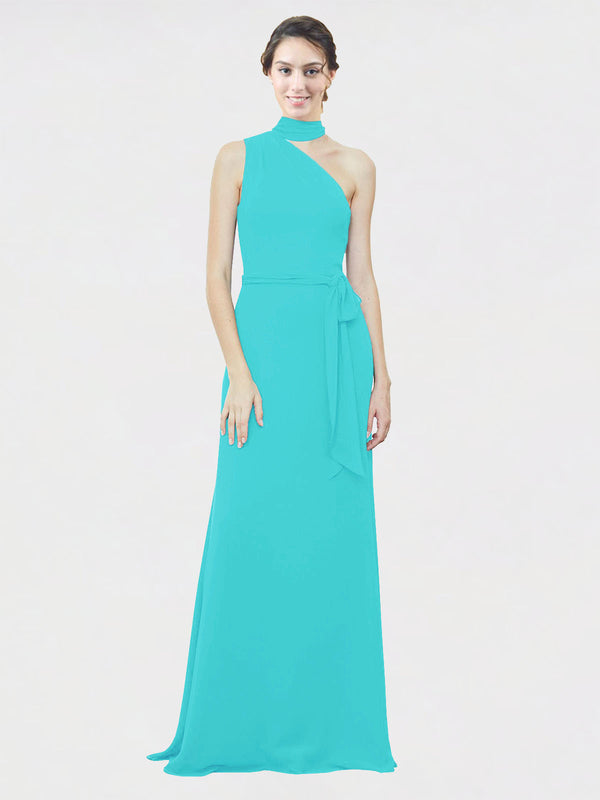 Mila Queen Crystal Bridesmaid Dress Aqua - A-Line One Shoulder Long Bridesmaid Gown Crystal in Aqua