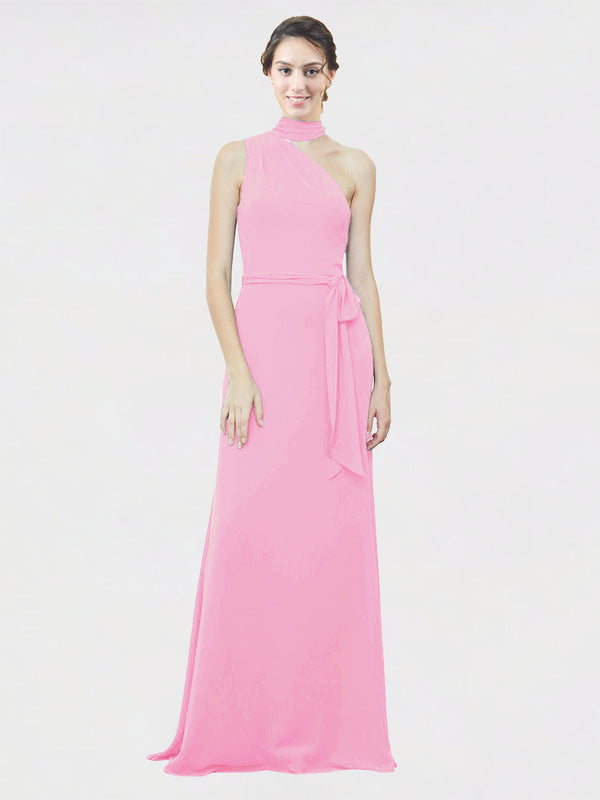 Mila Queen Crystal Bridesmaid Dress Barely Pink - A-Line One Shoulder Long Bridesmaid Gown Crystal in Barely Pink